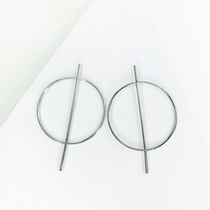 RESTOCKED Silver Hoop with Vertical Geo Bar